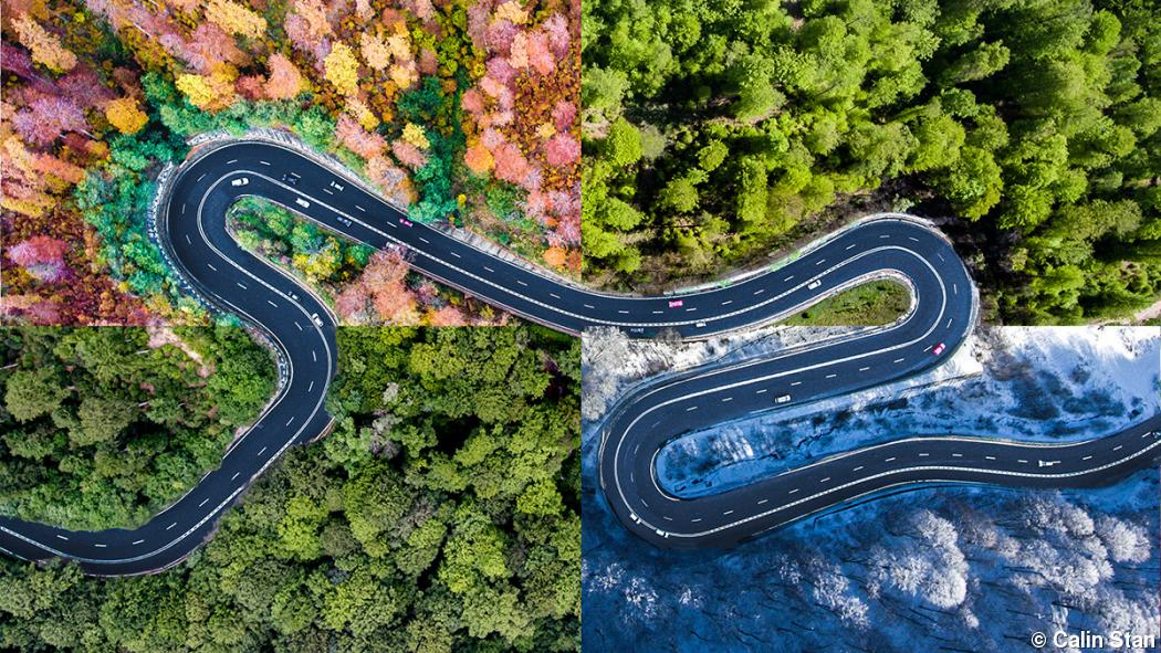 Drone photography captures winding road to Transylvania